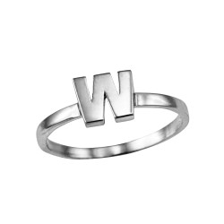 Sterling Silver Initial Letter W Stackable Ring