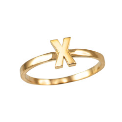 Polished Yellow Gold Initial Letter X Stackable Ring