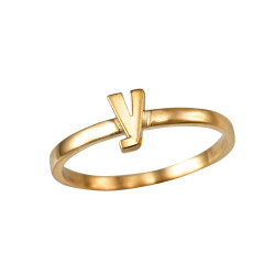 Polished Yellow Gold Initial Letter Y Stackable Ring