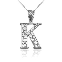 "Sterling Silver Nugget Initial Letter ""K"" Pendant Necklace"