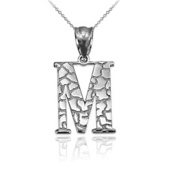 "Sterling Silver Nugget Initial Letter ""M"" Pendant Necklace"