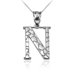 "Sterling Silver Nugget Initial Letter ""N"" Pendant Necklace"