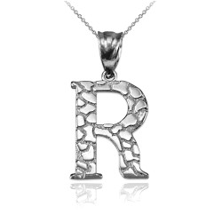 "White Gold Nugget Initial Letter ""R"" Pendant Necklace"