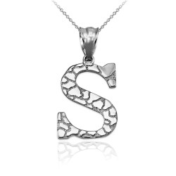 "White Gold Nugget Initial Letter ""S"" Pendant Necklace"