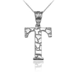 "White Gold Nugget Initial Letter ""T"" Pendant Necklace"