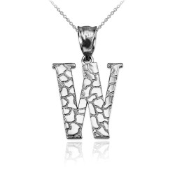"White Gold Nugget Initial Letter ""W"" Pendant Necklace"