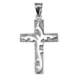White Gold Flaming Cross Pendant