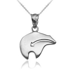 White Gold Zuni Bear Heartline Arrow  Charm Necklace