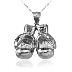 White Gold Boxing Gloves DC Pendant Necklace
