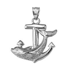 White Gold Mariner Anchor Dolphin Pendant