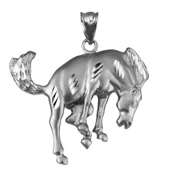 Sterling Silver Bucking Stallion Horse Satin DC Pendant