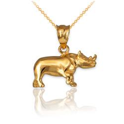 Polished Yellow Gold Rhino Charm Necklace