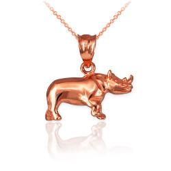 Polished Rose Gold Rhino Charm Necklace