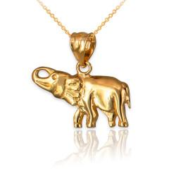 Polished Yellow Gold Elephant Charm Necklace