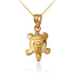 Yellow Gold Hawaiian Honu Sea Turtle Charm Necklace