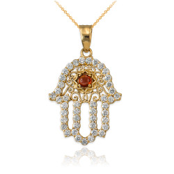 Diamond Studded Gold Filigree Genuine Garnet Hamsa Charm Necklace
