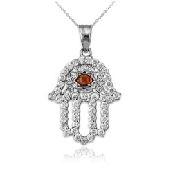 Diamond Studded White Gold Filigree Genuine Garnet Hamsa Charm Necklace