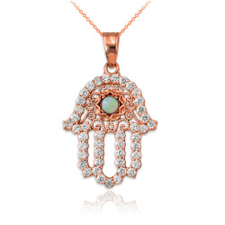 Diamond Studded Rose Gold Filigree White Opal Hamsa Charm Necklace