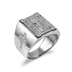 Solid White Gold Diamond Cross Boxed Crucifix Mens Statement Ring
