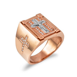 Solid Rose Gold Diamond Cross Boxed White Crucifix Mens Statement Ring
