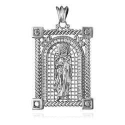 White Gold Filigree Guadalupe Sacred Heart of Jesus CZ Iced Pendant