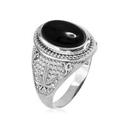 Sterling Silver Marijuana Weed Black Onyx Cabochon Statement Ring