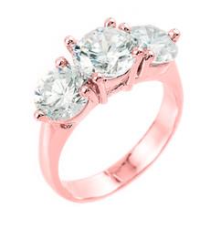 10k Rose Gold 3-Stone Cubic Zirconia Engagement Wedding Ring