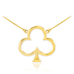 14k Gold 3-leaf Clover Shamrock Necklace