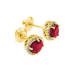 14k Yellow Gold Diamond Accent Ruby July Birthstone Earrings