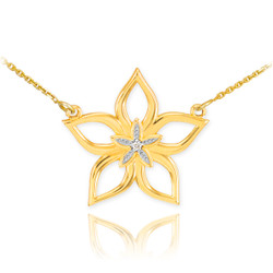 14k Yellow Gold Diamond Star Flower Necklace
