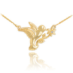 14k Gold Hummingbird Diamond Flower Necklace