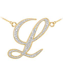 """14k Gold Letter Script """"L"""" Diamond Initial Necklace"""