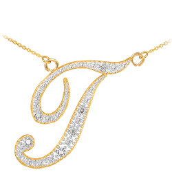 "14k Gold Letter Script ""T"" Diamond Initial Necklace"
