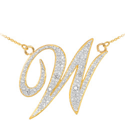 "14k Gold Letter Script ""W"" Diamond Initial Necklace"