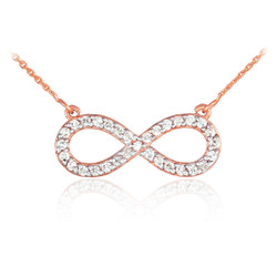 14K Rose Gold Diamond Infinity Necklace