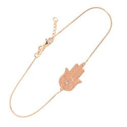 14K Solid Rose Gold Hamsa Diamond Bracelet