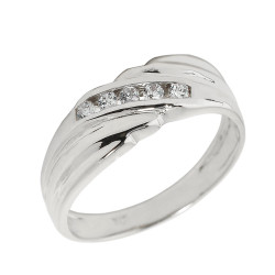 925 Sterling Silver Men's Diamond Wedding Band