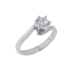 925 Sterling Silver Round Cut Cubic Zirconia Engagement Ring