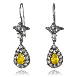 Black Silver Teardrop Citrine CZ Earrings