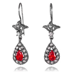 Black Silver Teardrop Ruby CZ Earrings