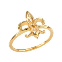 Dainty Yellow Gold Fleur-de-Lis Ring