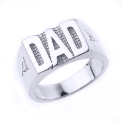Fine Sterling Silver Mens CZ 'DAD' Ring