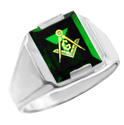 Freemason Green CZ Square and Compass Silver Masonic Mens Ring