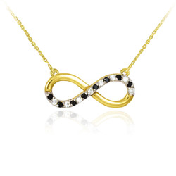 14k Polished Gold  Necklace with Clear & Black Infinity Diamonds
