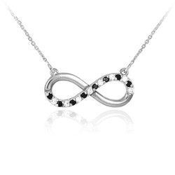 14k White Gold Polished Clear & Black Diamonds Infinity Necklace
