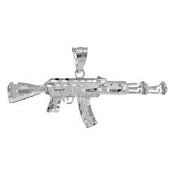 White Gold AK-47 Rifle Pendant