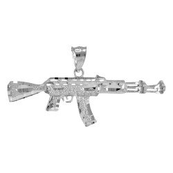 Silver Gold AK-47 Rifle Pendant