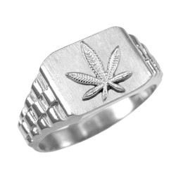 Silver Marijuana Ring