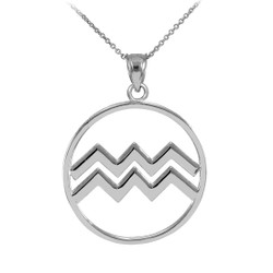 Polished White Gold Aquarius Zodiac Sign Round Pendant Necklace