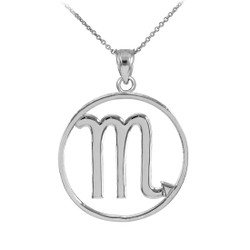 White Gold Scorpio Zodiac Sign Necklace